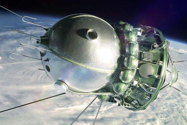 Первый космический аппарат, поднявший человека на околоземную орбиту «Восток-1»